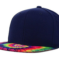 Top of the World Tie Dyed Printed Visor Snapback Hat (One Size, Navy/Pink/Yellow)