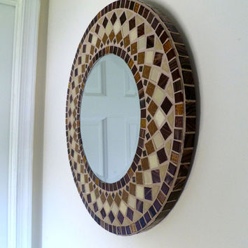 MIRROR MOSAIC round   Wall  Mirror Choose size Brown, Beige  Rectangular,Square,Oval custom order