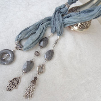 Grey Jewelry Scarf,Turkish Silk Necklace,Scarf Necklace,Turkish Jewelry,Elegance Feminine Scarf,Summer Fashion,Handmade,Mother's Day Gift