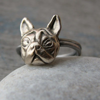Bull dog ring white bronze and stainless steel
