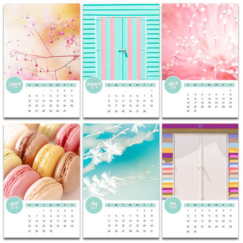 2014 calendar photography 4x6 desk calendar pastels botanical calendar macaron mini desk calendar with easel stand French cupcake pink mint