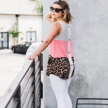 Take the Lead Leopard/Coral Top