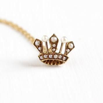 Antique 18k Yellow Gold Seed Pearl Crown Pendant Necklace - Vintage 1900 Edwardian Que