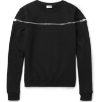 Saint Laurent Zipped Cotton-Jersey Sweatshirt | MR PORTER