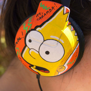 Custom Hand painted Headphone. Hand painted Earphones. Homer, Marge, Bart - The Simpsons Characters. Unique gift.