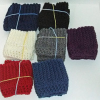 Boot Cuffs - Winter Colors -You choose color, Crocheted Boot Cuffs, Short Leg Warmers, Boot Toppers,