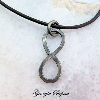 Oxidized nickel silver infinity leather necklace. Mens infinity necklace.Infinity pendant. Adjustable leather necklace. Anniversary gift.