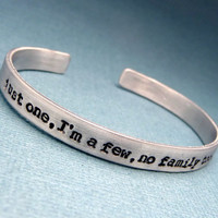 Orphan Black Inspired - Just One, I'm a Few, No Family Too, Who Am I - A Hand Stamped Aluminum Bracelet