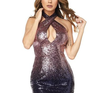 Ombre Sequin Body-con Dress