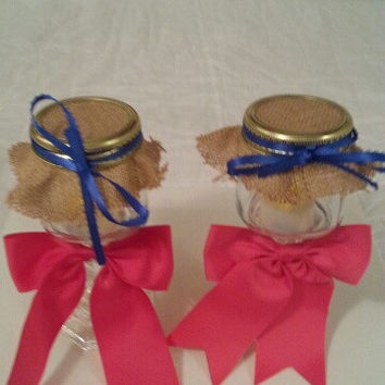 Burlap pink blue wedding candle jar / center piece set. Any color to match your wedding