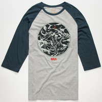 Rvca Armageddon Mens Baseball Tee Heather Grey  In Sizes