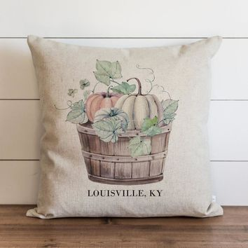 Watercolor Basket of Pumpkins Custom City and State Pillow Cover