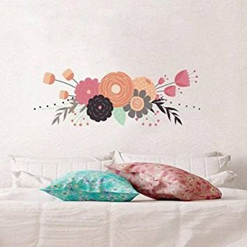 "Flowers Wall Decals Rustic New Full Color Murals Floral Vinyl Sticker Colorful Trendy Decor Girls Bedroom Flowers Decoration Nursery NS2060 (19"" Tall x 54"" Wide)"