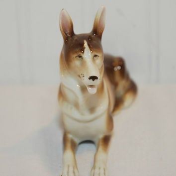 Vintage German Shepard Figurine, Stamped Germany (c.Pre-1997) Laying Down German Shepard, Adorable, Handsome, Collectible, Gift Idea