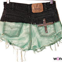 ONLY TWO AVAILABLE Black to Mint Ombre Shorts with Cross on Back Pocket