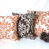 Fall Pillow Cover Set of Three - Pumpkin Orange Brown Pillow, Damask Pillow, Fall Decor, Thanksgiving Decor, All sizes, Fall Throw Pillow
