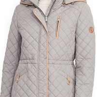 Lauren Ralph Lauren Faux Leather Trim Quilted Anorak | Nordstrom