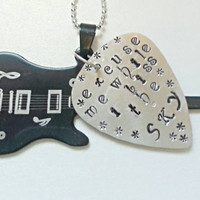 Jimi Hendrix Lyric, Excuse me While I Kiss the Sky, Handstamped guitar pick, Guitar charm, custom key-chain, fathers day gift