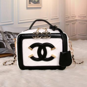 """Chanel"" Personality Fashion Multicolor Quilted Letter Metal Chain Single Shoulder Messenger Bag Women Cosmetic Handbag"