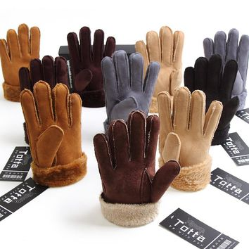 New fashion men winter gloves men women winter fur velvet thick couple warm faux leather gloves men Ourdoor Five Finger Gloves