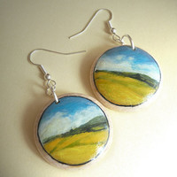 Hand Painted Earrings - Landscape Painting Jewelry -   Miniature Art   - Yellow Field