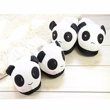 THINKTHENDO 1 Pair Hot Selling Ladies Panda Winter Warm Soft Plush Antiskid Cute Indoor Home Slippers For Men Women