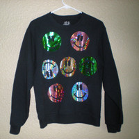 90s iridescent/glitter smiley face sweater