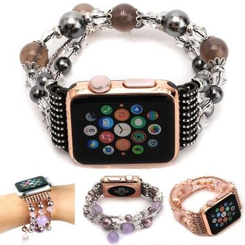 Women Fashion Agate Stretch Bracelet Replacement iWatch Strap Apple Watch Band 42mm 38mm