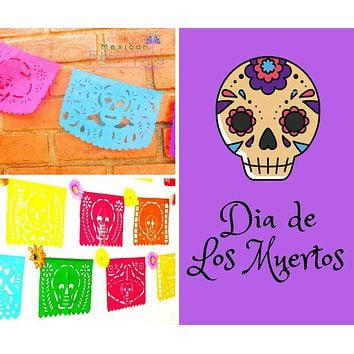 Day of the dead banner, MULTICOLOR LARGE 16ft, papel picado banner, Mexico party decoration,Cinco de Mayo