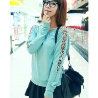 Blue Long Sleeve Women Autumn New Style Scoop Cotton T-shirt One Size @WH0390bl $8.99 only in eFexcity.com.