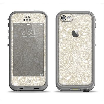The Tan & White Vintage Floral Pattern Apple iPhone 5c LifeProof Fre Case Skin Set