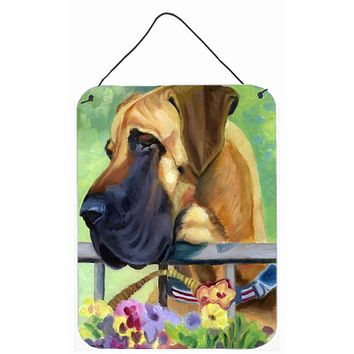 Great Dane Natural Ears Fawn in Flowers Wall or Door Hanging Prints 7311DS1216