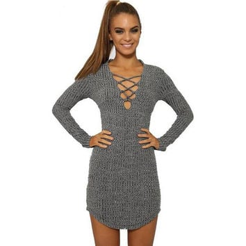 Long Sleeve V neck Women Knitted tops  8 Colors Size S-XL Winter Lace-up Stretch t-shirts Casual Bodycon outwear clothing1220M