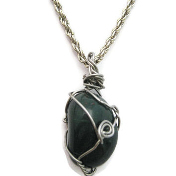 Bloodstone  Necklace Wire Wrap Necklace Wire Wrapped Stone Necklace Bloodstone Jewelry Unisex Gifts Under 30 Green Jewelry Green Necklace