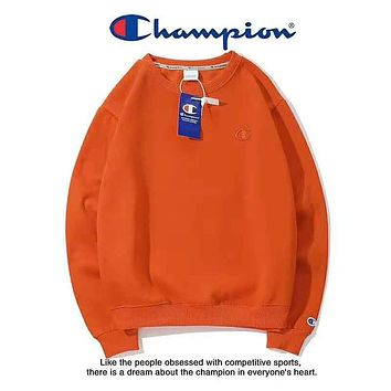 Champion Autumn And Winter Fashion New Bust Embroidery Logo Women Men Keep Warm Long Sleeve Top Sweater Orange