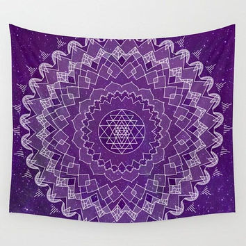Purple Mandala Wall Tapestry,  geometric mandala with purple starry background,  dorm room decor