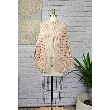 Vintage Delicate  Handknit Poncho Sweater