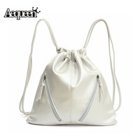 Drawstring Leather Backpack Women Backpack School Tassel Sack Bags String Bagpack Brand Vintage Casual Lady shoulder bag Mochila