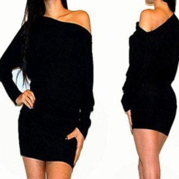 SEXY OFF SHOULDER KIMONO SLEEVES SWEATER DRESS S M L XL