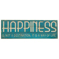 Bright Blue Happiness Wood Sign