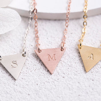 Engraved Triangle Necklace Personalized Triangle Necklace Birth Date Name Initial,  Bridesmaid Gift for Her Sterling Silver LVMKE4