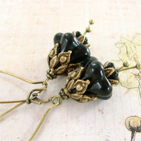 Fallen Fairy Earrings - Black Flower Earring - Czech Flower Dangle Earrings - Fantasy Jewelry - Vintage Style Gothic Brass Flower Jewelry