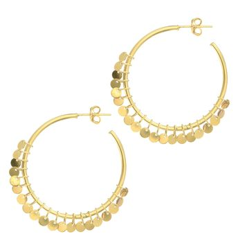 14K Yellow Gold Shiny 1.5X30mm Round Tube Hoop Typ E Fancy Earring On Post with Small Multi Dangle 3M M Disc On Rings with Hinged Clasp