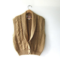 Vintage wool sweater vest. Sleeveless sweater. Oatmeal brown wool vest. Knitted wool sweater. Preppy sweater.