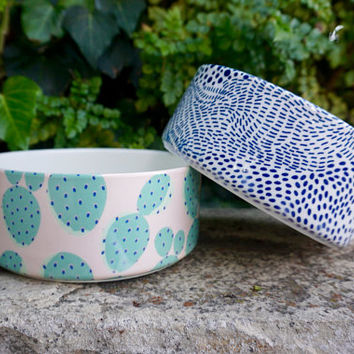 Modern Ceramic Dog Bowl, Cactus Print. Cute!