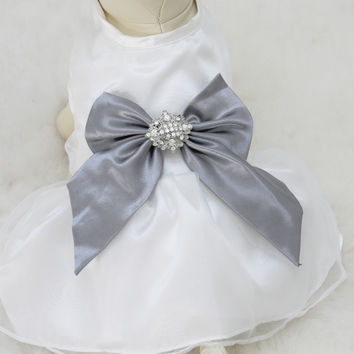 Gray Dog Dress, Dog Birthday gift, Pet wedding accessory