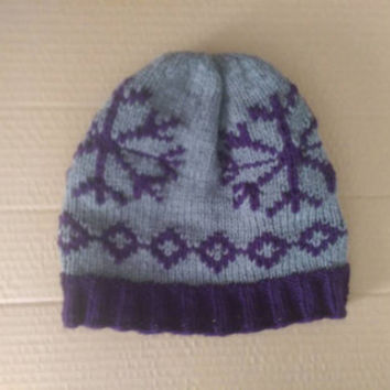 Purple and Grey Snowflake Womens Warm Knitted Winter Hat Beanie