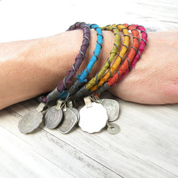 Silk Road Bangle Stack - Earthy Rainbow - 6 Piece Bohemian Bracelet Set, Gypsy Tribal, Silk Wrapped
