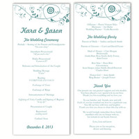 Wedding Program Template DIY Editable Word File Instant Download Program Blue Program Bird Program Floral Printable Wedding Program 4x9.25