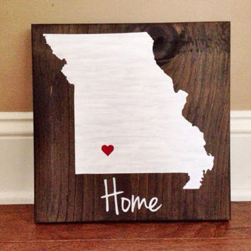 Missouri State Wood Sign, Custom Missouri Sign, Stained and Hand Painted, Personalize, Missouri decor